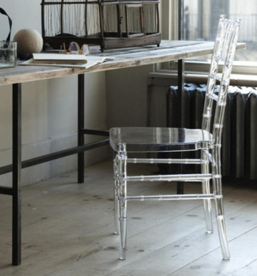 lucite chair with wood table