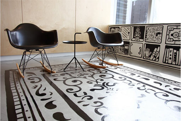 painted concrete rug