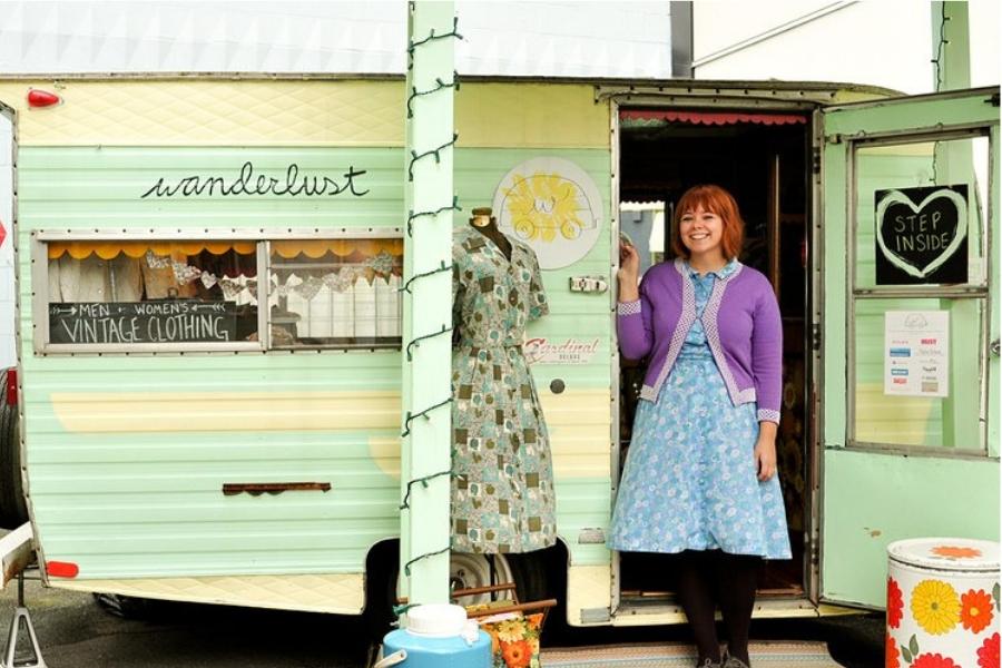 converted mobile vintage fashion bus