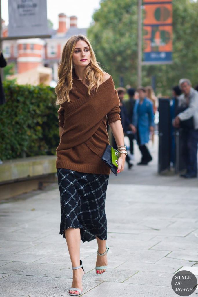 Olivia Palermo wearing a sweater and skirt for London Street Style