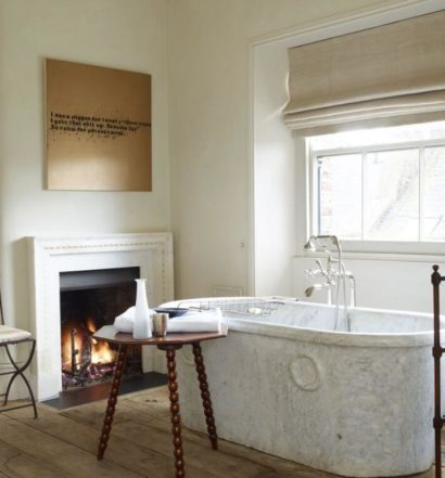 rose uniacke bathroom with antique quilt rack