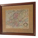 framed antique map of europe