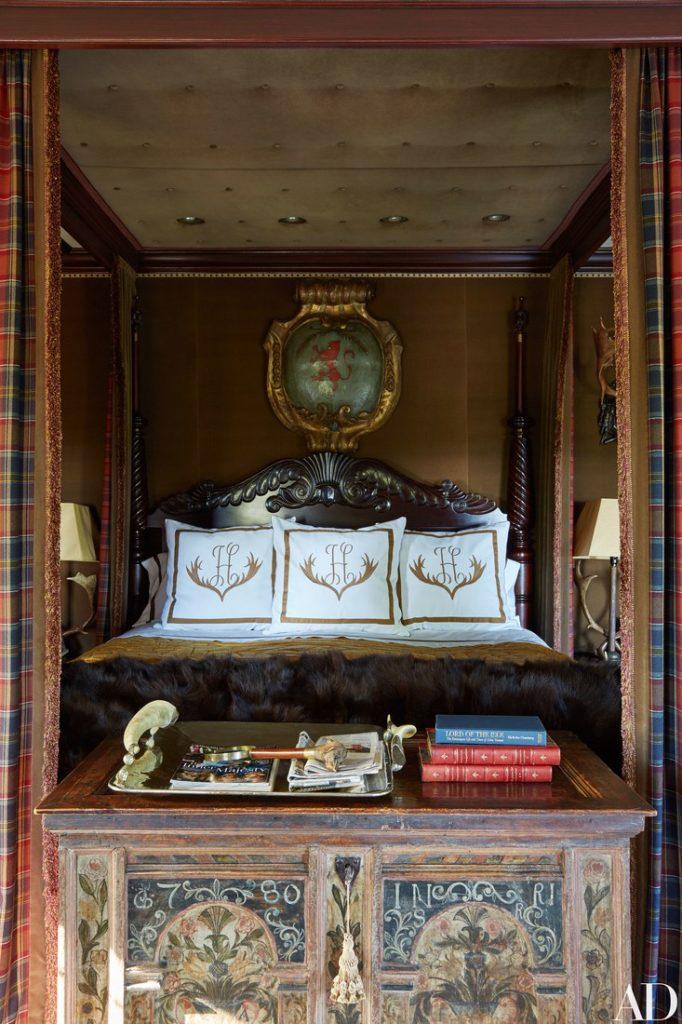 vintage Bavarian trunk in Tommy Hilfiger's master bedroom