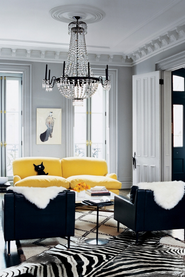 yellow sofa with black and white zebra rug in Jenna Lyon's former townhouse.