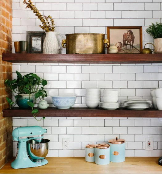 Farmhouse style kitchen shelves with subway tile