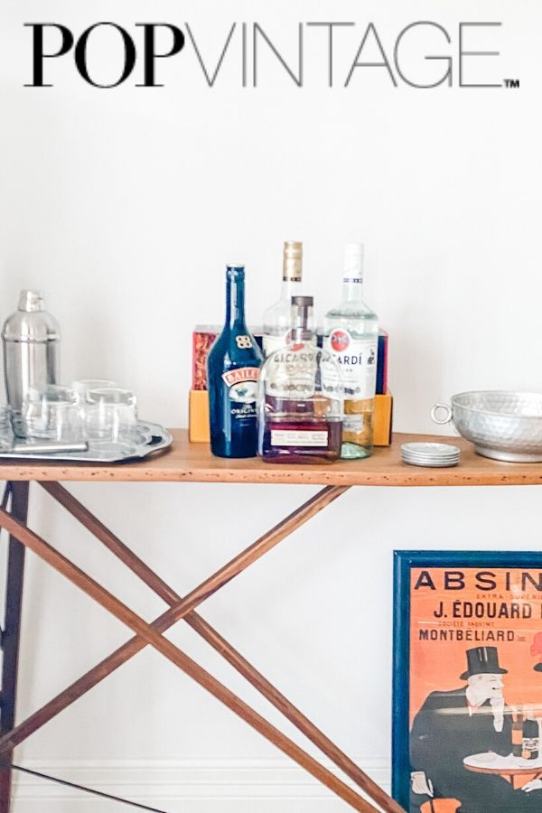 repurposed and upcycled vintage wood ironing board bar.